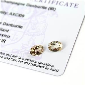 1.85cts Champagne Danburite 8x6mm Oval Pack of 2 (I)