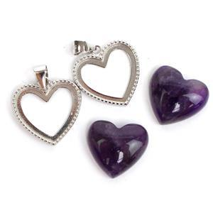 925 Sterling Silver Heart Bezel Pendant Approx 17x21mm (2pcs) & Amethyst Heart Cabochon (2pcs) Approx 14x15mm