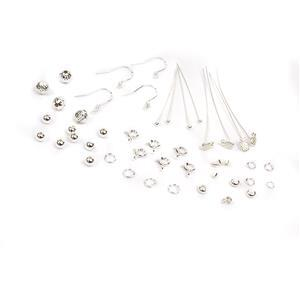 925 Sterling Silver Findings Pack With Pineapple Headpins 44pc