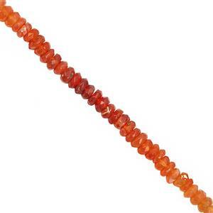 22cts Fire Opal Faceted Rondelle Approx 3.5x1.5 to 4.5x2mm, 19cm Strand
