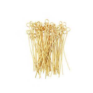 Gold Plated Base Metal Eyepins, 4x40mm (100pcs)