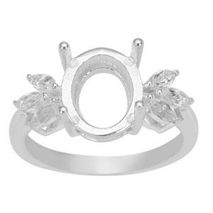925 Sterling Silver Oval Ring Mount With Marquise Side Detail (To fit 11x9mm Gemstones)