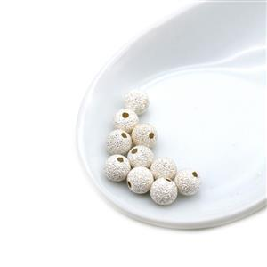 925 Sterling Silver Stardust Spacer Beads Approx 6mm, 10pcs