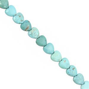 50cts Turquoise Straight Drill Smooth Puffy Heart Approx 10mm, 15cm Strand