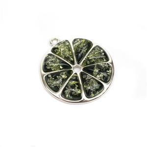 Baltic Green Amber Lime Pendant, Approx. 23mm