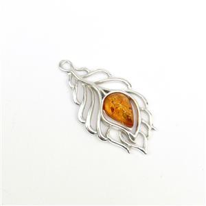 Baltic Cognac Amber Feather Pendant Approx 28x15mm Sterling Silver