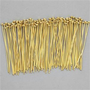 Gold Plated Base Metal Flat Headpins, 40x2mm (100pcs)