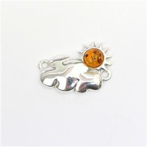 Baltic Cognac Amber Sun and Cloud Connector Approx 19x13mm Sterling Silver