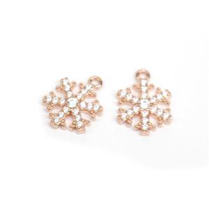 Rose Gold Plated 925 Sterling Silver Snowflake With CZ Charms Approx 10mm (2pcs)