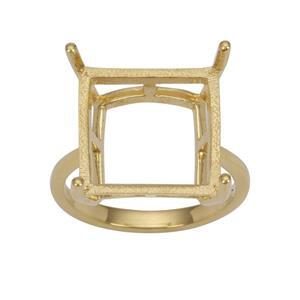 Gold Plated 925 Sterling Silver Ring Mount (To fit 14mm Square Gemstones)