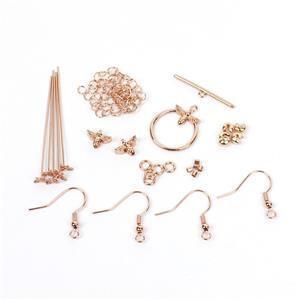 Rose Gold Plated Base Metal Bumble Bee Findings Pack (28pcs)