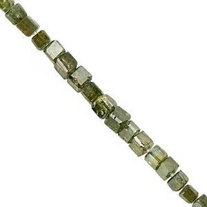 2.50cts Green Diamond Graduated Faceted Cubes Approx 1 to 2mm, 7cm Strand