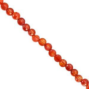 23cts Red Onyx Faceted Coin Approx 4 mm, 30cm Strand