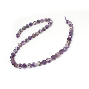 110cts Dog Tooth Amethyst Star Cut Rounds Approx 8mm, 38cm strand