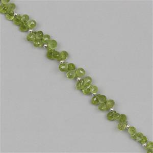51cts Peridot Graduated Faceted Drops Approx From 4x3 to 7x4mm, 19cm Strand.