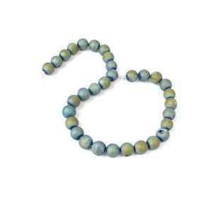 """390cts Green Blue Druzy Agate Plain Rounds 12x12mm 15-16"""""""