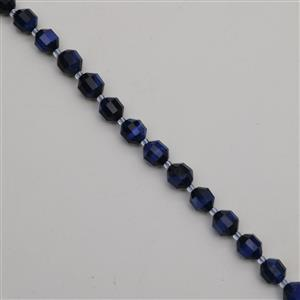 180cts Dyed Royal Blue Tiger Eye Faceted Satellite Beads Approx 9x10mm, 38cm Strand