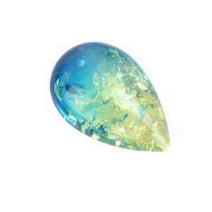 Baltic Sapphire Blue Ombre Amber 3D Drop Approx 30x20mm (1pc) Top drilled