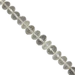 88cts Green Amethyst Graduated Faceted Rondelle Approx 4x3 to 10x6mm, 20cm Strand