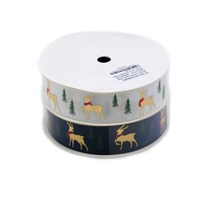 25mm Grosgrain Reindeer Print Christmas Ribbons Approx 10m (White & Navy) 2pk