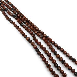 "360cts Brown Obsidian Faceted Rounds Approx 6mm, 60"" Endless Strand"
