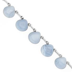62cts Blue Opal Top Side Drill Graduated Smooth Heart Approx 9.50 to 12.50mm, 23cm Strand with Spacers