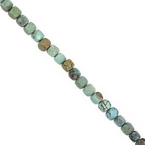 52cts Turquoise Faceted Cube Approx 3.50 to 4mm, 38cm Strand