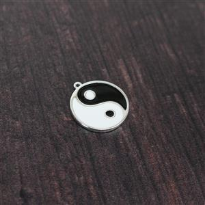 925 Sterling Silver Ying Yang Enamel Pendant Approx. 20 x 22mm