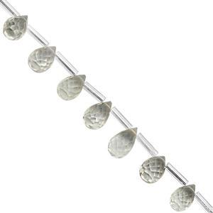 25cts Green Amethyst Top Side Drill Faceted Drop Approx 6x4 to 9x6mm, 20cm Strand with Spacers
