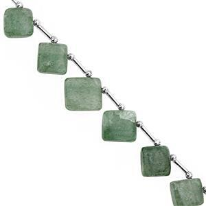 85cts Aventurine Quartz Corner Drill Smooth Square Approx 11 To 17mm, 22cm Strand with spacers