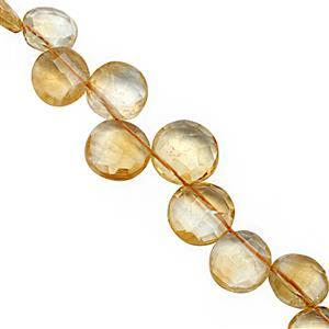 70cts Citrine Top Side Drill Graduated Faceted Coin Approx 8.50 to 13mm, 18cm Strand