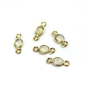 0.55cts Ethiopian Opal Cabochon Oval (4x3mm) Gold Plated 925 Sterling Silver Connector, Approx 9x4mm (Pack of 5)