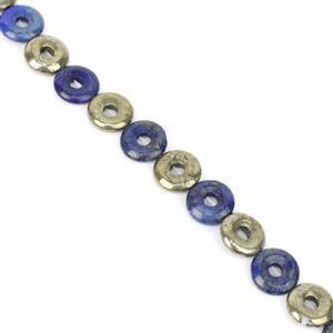 """118cts Pyrite And Lapis Lazuli Donut Approx 14mm, 8 """" Loose Strands"""