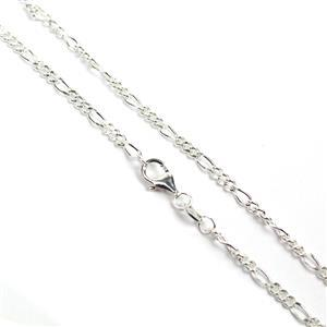 925 Sterling Silver Figaro 0.6mmx2.4mm Chain 24""