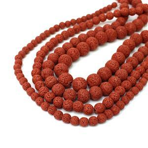 """490cts Dark Red Lava Rock Rounds Approx 6 to 12mm, 15"""" Strands Set Of 4"""