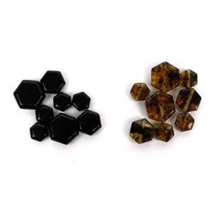 Black Friday Special! Brand New Amber Hexagon Beads! Inc; Baltic Cherry  & Earthy. (16pcs)