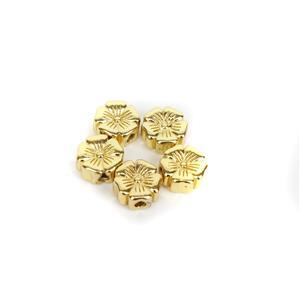 Gold Plated Base Metal Hibiscus Flower Spacer Beads, 8mm (5pk)