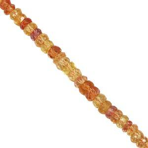 15cts Yellow Orange Sapphire Faceted Rondelles Approx 2x1 to 2.5x3.5mm.