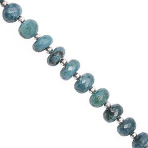 87cts Chrysocolla Graduated Faceted Rondelle Approx 7x4 to 10x6.5mm, 22cm Strand with Spacers