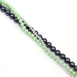 3 x 38cm Strands Round Shell Pearls (Inc: 2mm Silver, 4mm Green, 6mm Navy)