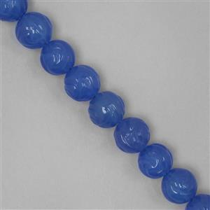 240cts Blue Agate Carved Rose Flower Rounds Approx 10mm
