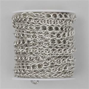 5m Silver Plated Brass Curb Chain (7x5mm Medium Link)