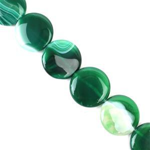 Green Stripe Agate Puffy Coins Approx 30mm, 38cm/strand