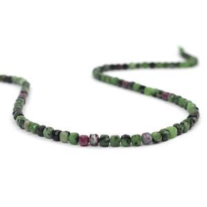 70cts Ruby Zoisite Faceted Cubes Approx 4mm, 38cm Strand