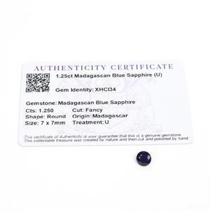 1.25cts Madagascan Blue Sapphire 7x7mm Fancy  (U)