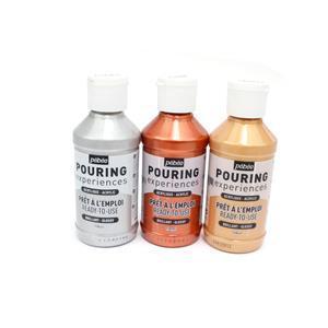 Mixed Metallics; Pebeo Pouring Experiences - Ready to Use Gold, Silver & Metallic Copper
