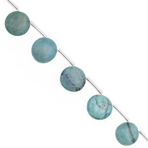 75cts Chrysocolla Top Side Drill Smooth Coin Approx 10 to 14.50mm, 21cm Strand with Spacers