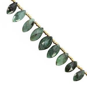 35cts Emerald Top Side Drill Graduated Faceted Marquise Approx 9.5x5.5 to 14x7mm, 15cm Strand With Spacers