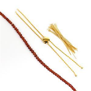 Mandrian Garnet Slider! Inc; 30cts Mandrian Garnet , 925 Gold Plated Slider & Eyepins