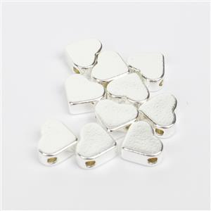 Silver Plated Base Metal Heart Spacer Beads, Approx. 8x7mm (10pk)